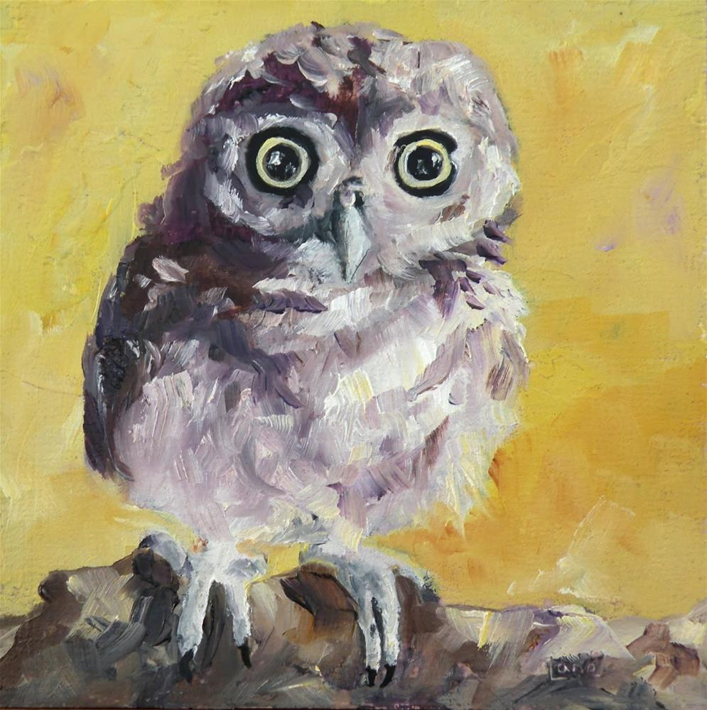 """BABY O an OWL ORIGINAL 4X4 CRADLE PAINTING OF AN OWL © SAUNDRA LANE GALLOWAY"" original fine art by Saundra Lane Galloway"