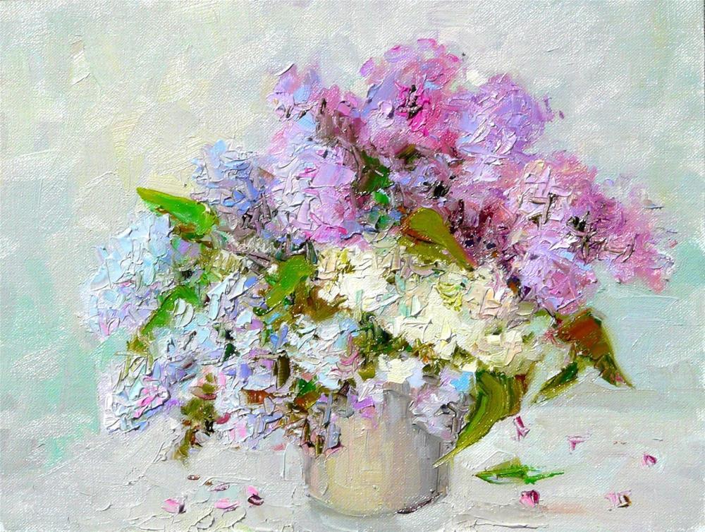 """Lilacs,still life,oil on linen,9x12,price$300"" original fine art by Joy Olney"