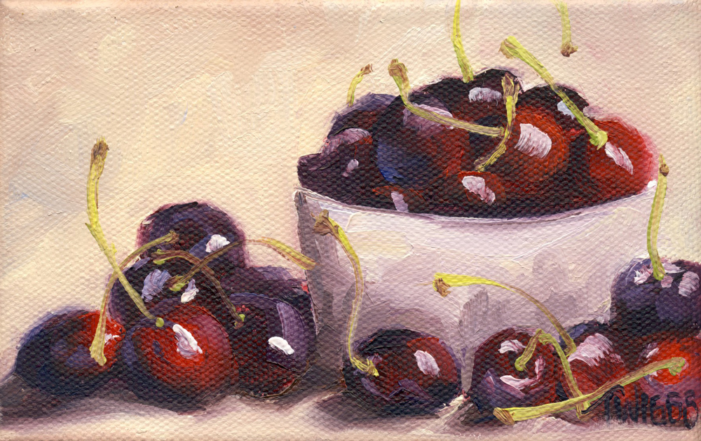 """Cherries 5"" original fine art by Lori Twiggs"
