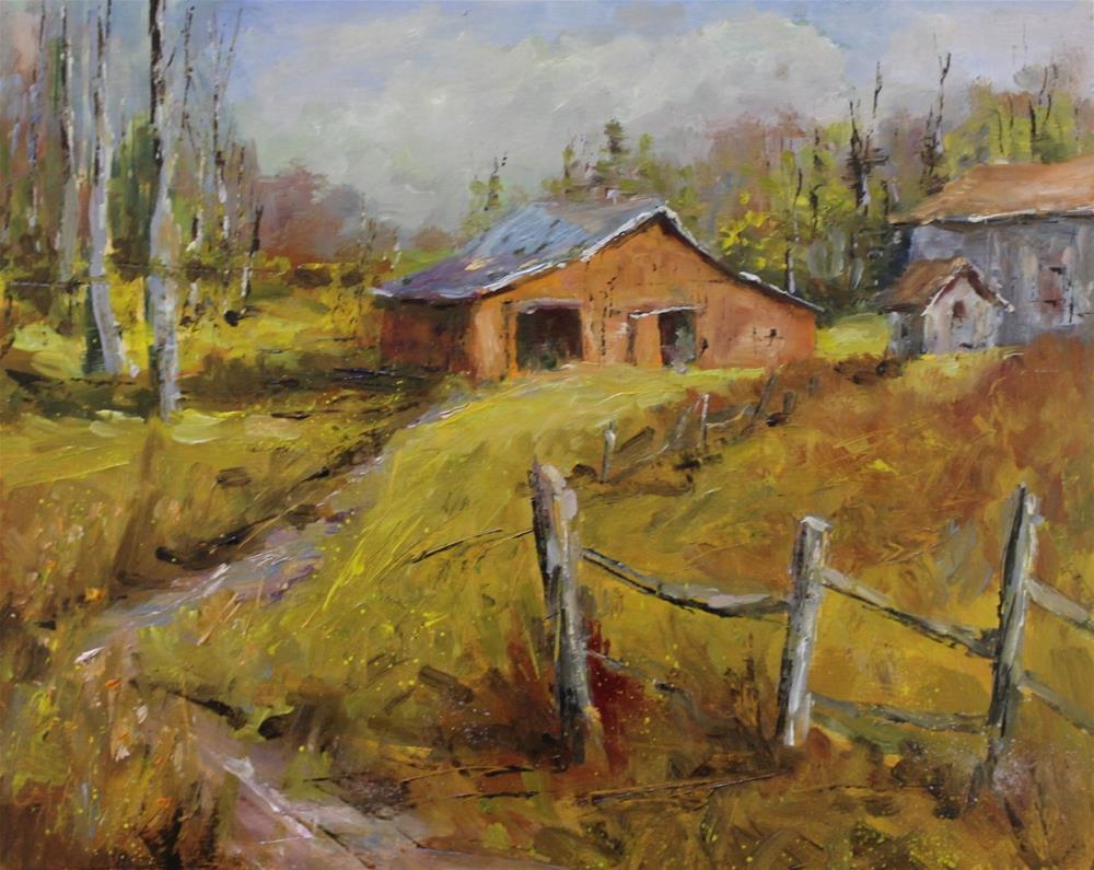 """ Original barn country landscape meadow oil painting"" original fine art by Alice Harpel"