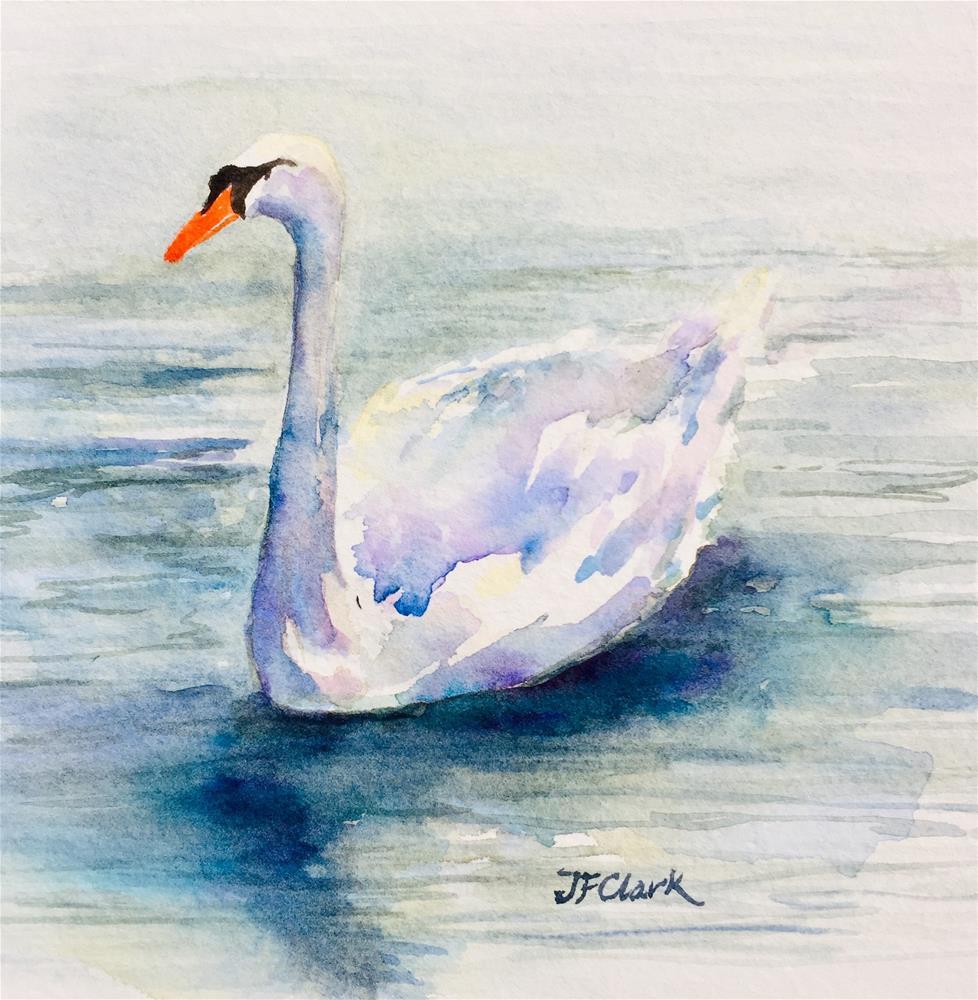 """Swan solo"" original fine art by Judith Freeman Clark"