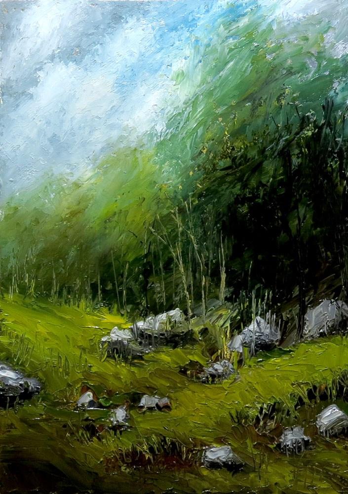 """Grassy Mountain Slope"" original fine art by Bob Kimball"
