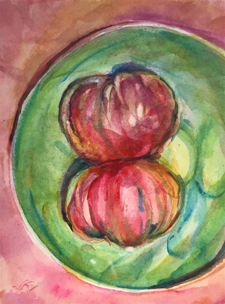 """Heirloom Tomatoes"" original fine art by Jean Krueger"