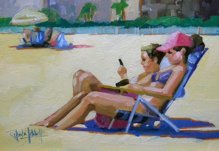 """""""No 548 Reading and Texting!"""" original fine art by Robin J Mitchell"""
