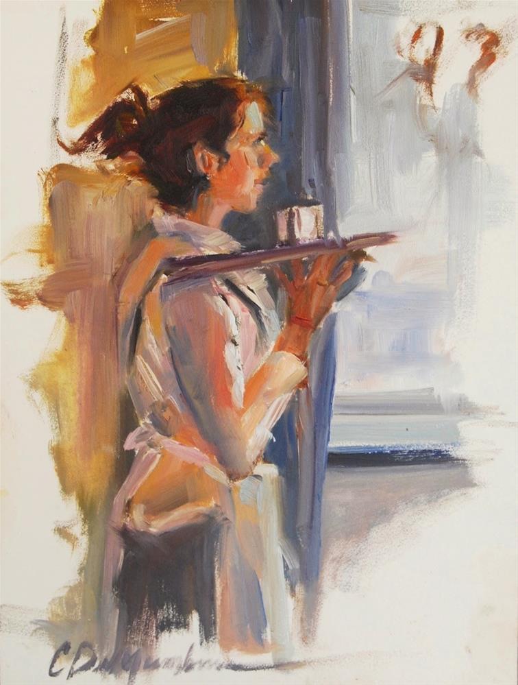 """""""Waitress,  30 in 30 Challenge"""" original fine art by Carol DeMumbrum"""