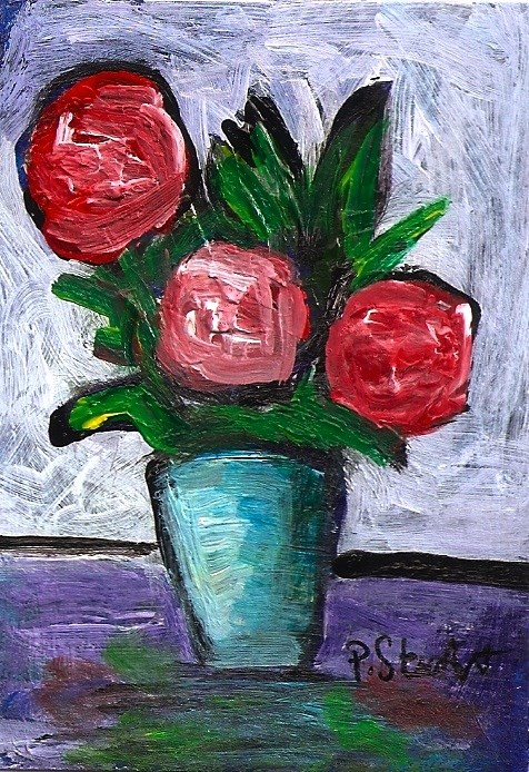 """""""ACEO 3 Red Roses Expressionistic Style Original Art OOAK SFA Penny StewArt"""" original fine art by Penny Lee StewArt"""