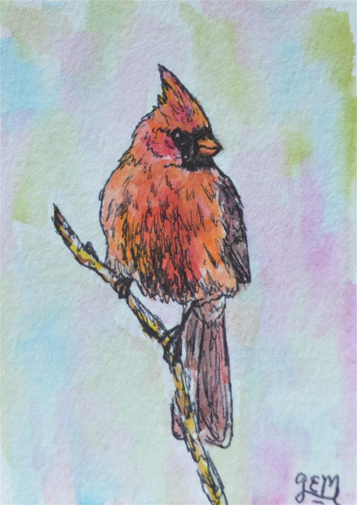 """Watercolor Cardinal ACEO"" original fine art by Gloria Ester"