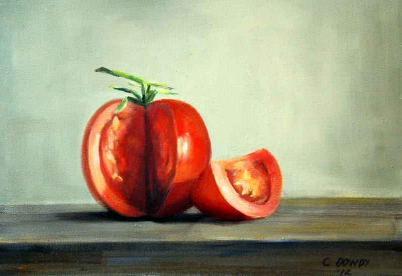 """Still Life of Tomato"" original fine art by Christina Dowdy"