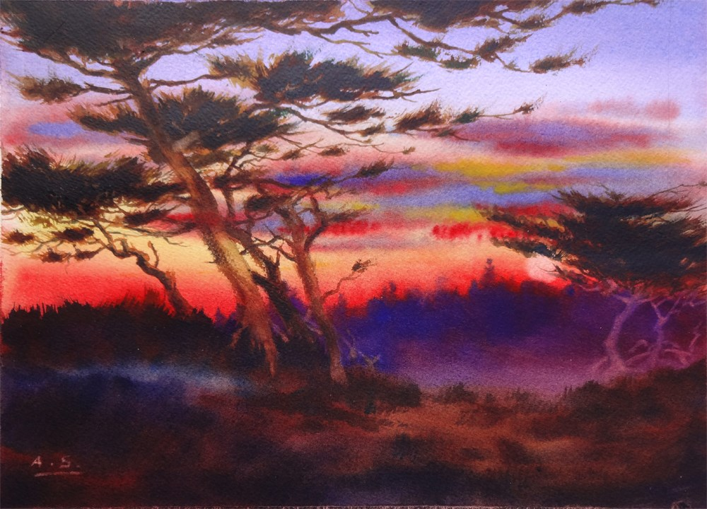 """Cypress Hill Sunset"" original fine art by Arena Shawn"