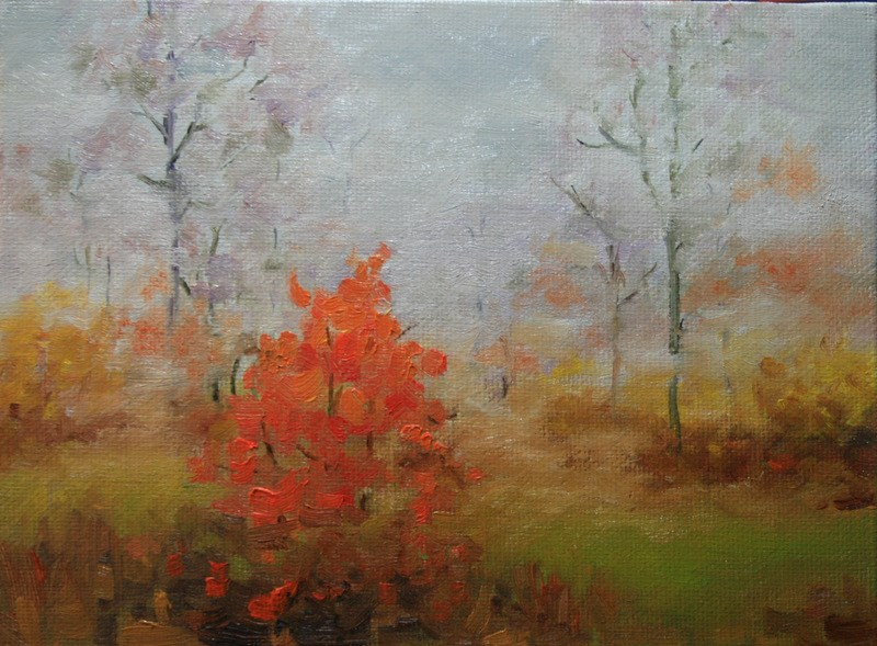 """Autumn River Mist"" original fine art by Jean Nelson"