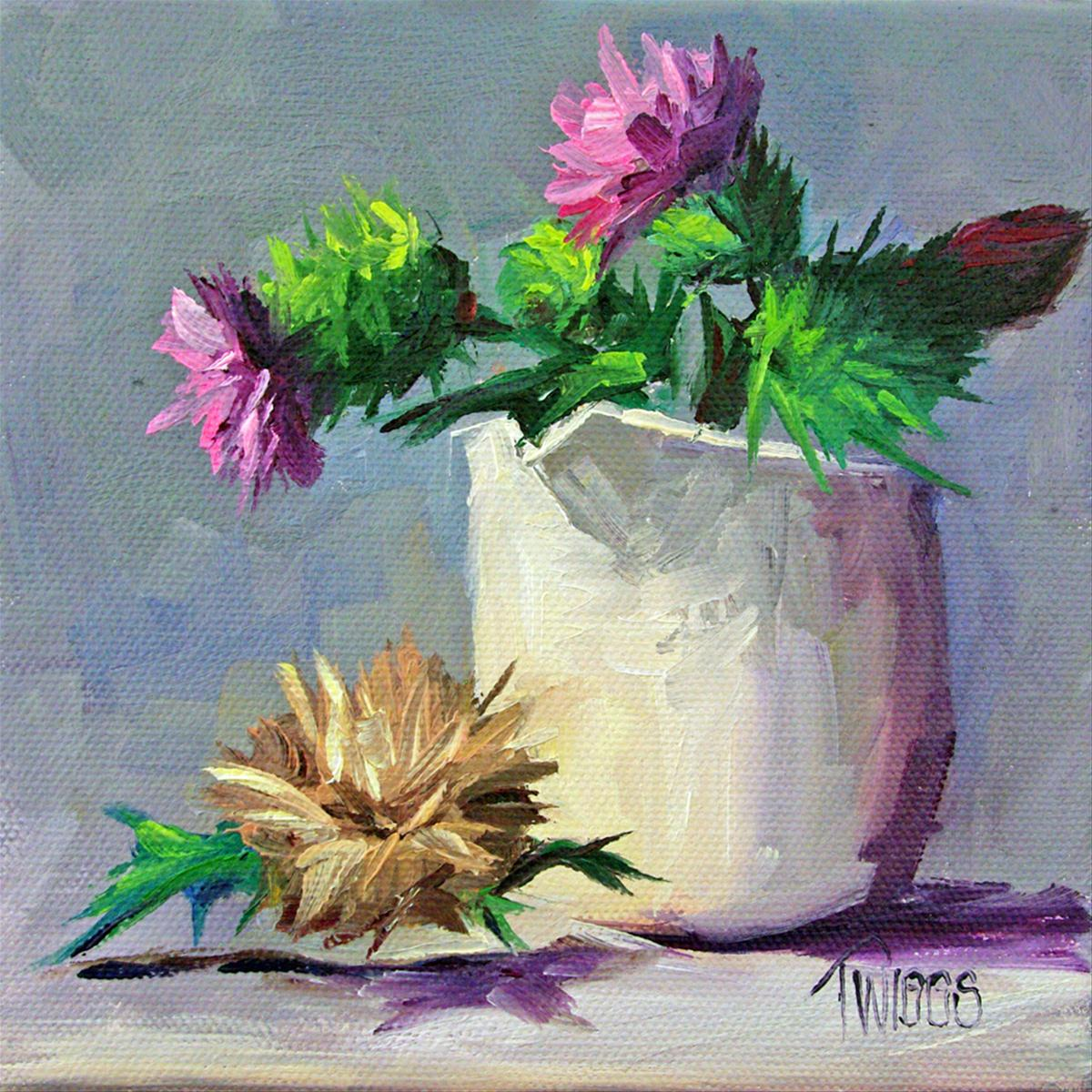 """""""Thistles 4 Going to Seed"""" original fine art by Lori Twiggs"""