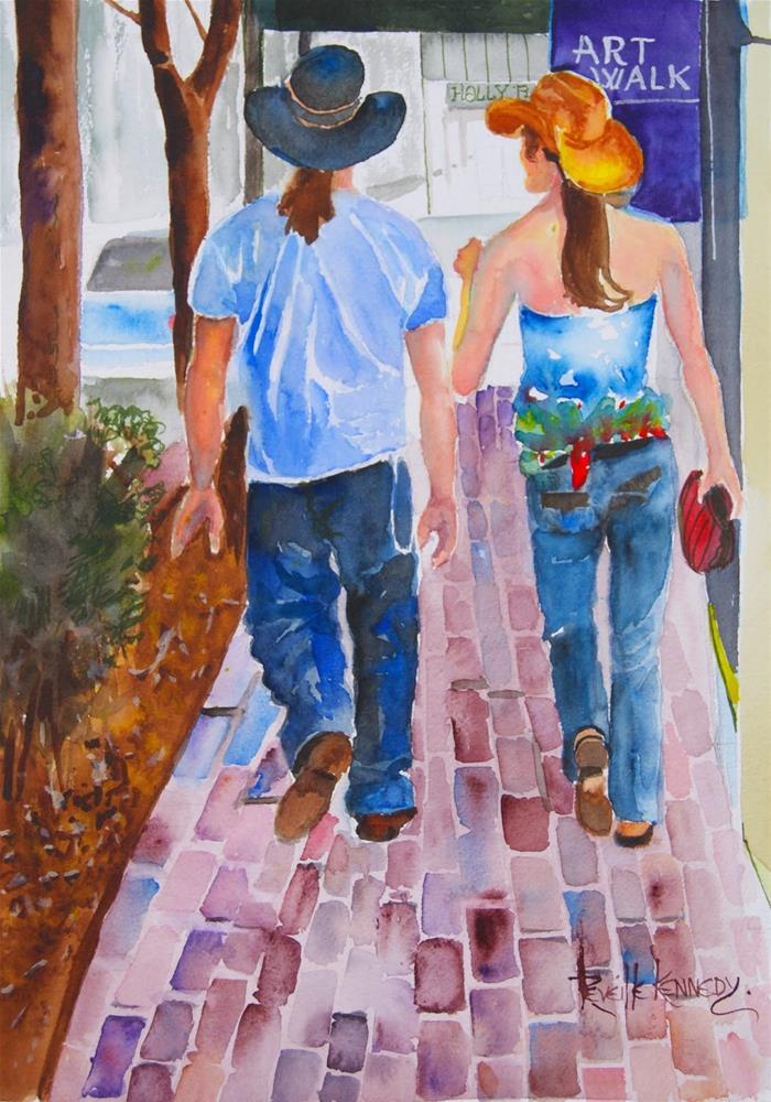 """""""Walkin' the Art Walk, Old Colorado City"""" original fine art by Reveille Kennedy"""