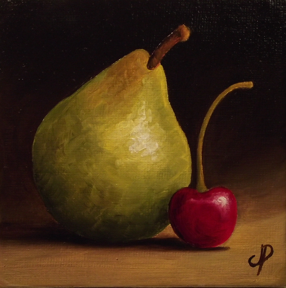 """""""Pear and Cherry Video"""" original fine art by Jane Palmer"""