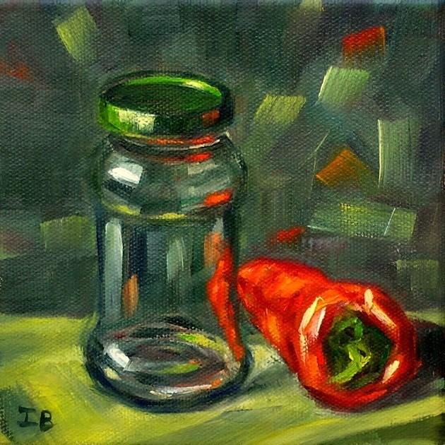 """Green Cap"" original fine art by Irina Beskina"
