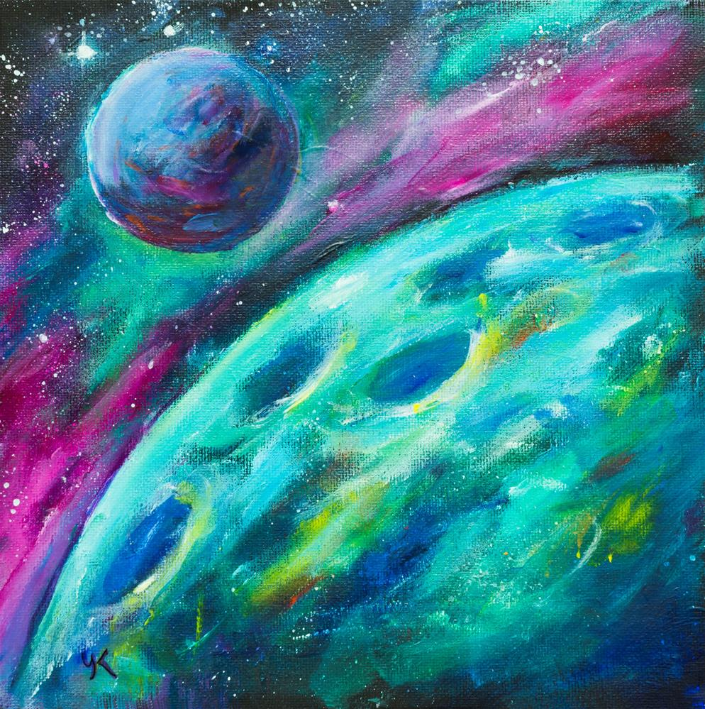 """Green Planet"" original fine art by Yulia Kazansky"