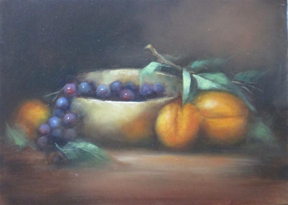 """""""Apricots and Silver"""" original fine art by Barbara Wagner"""