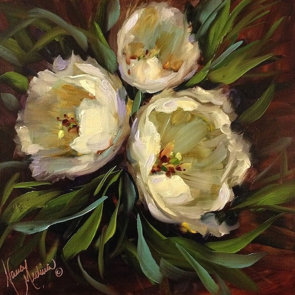 """Ribbons in the Sky White Tulips - Flower Paintings of the Dallas Arboretum by Nancy Medina"" original fine art by Nancy Medina"