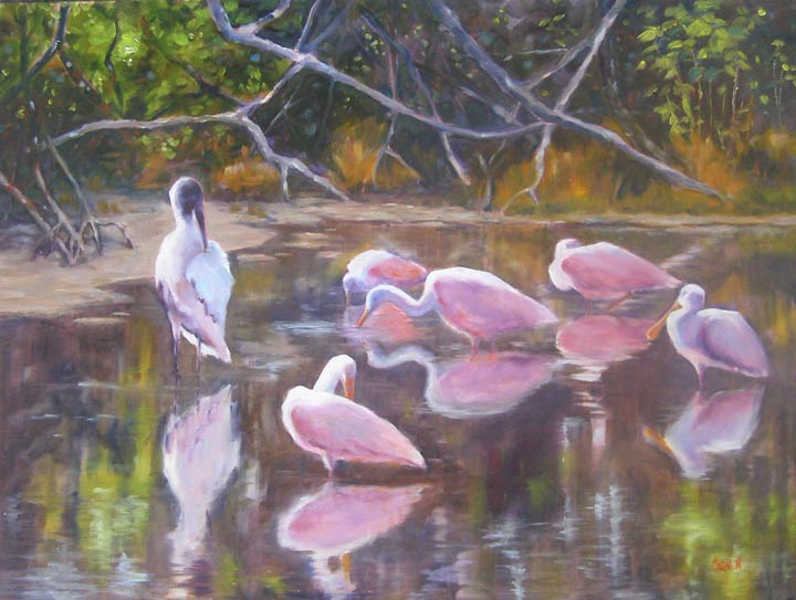 """Guests for Dinner, 18x24 Oil on Canvas"" original fine art by Carmen Beecher"