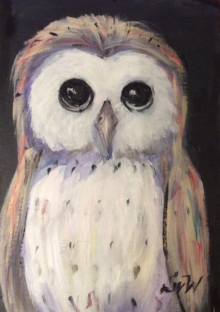 """""""Owl Painting"""" original fine art by Sonia von Walter"""