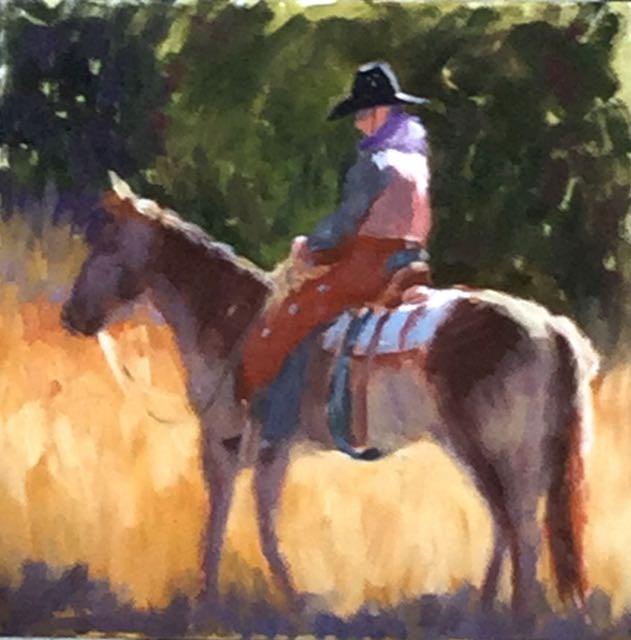 """The Cowboy Rides Away"" original fine art by Judy Elias"