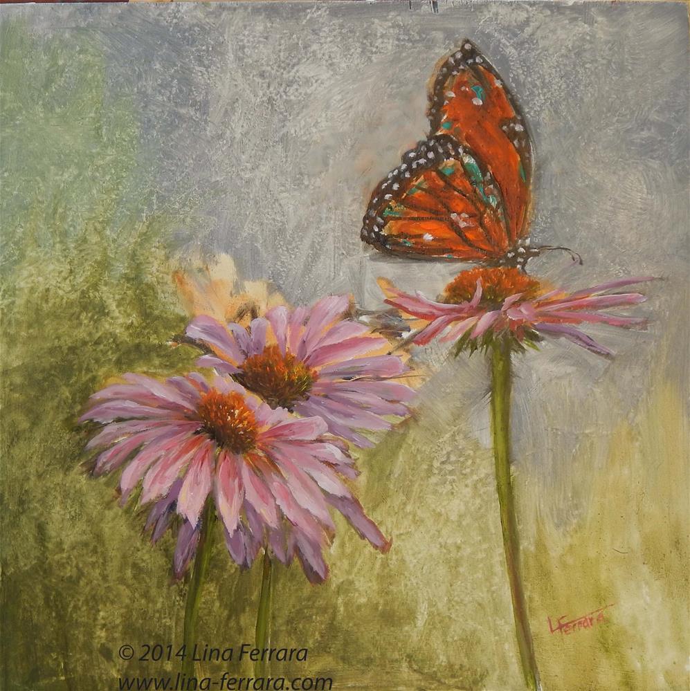 """Butterfly with Pink Coneflowers"" original fine art by Lina Ferrara"