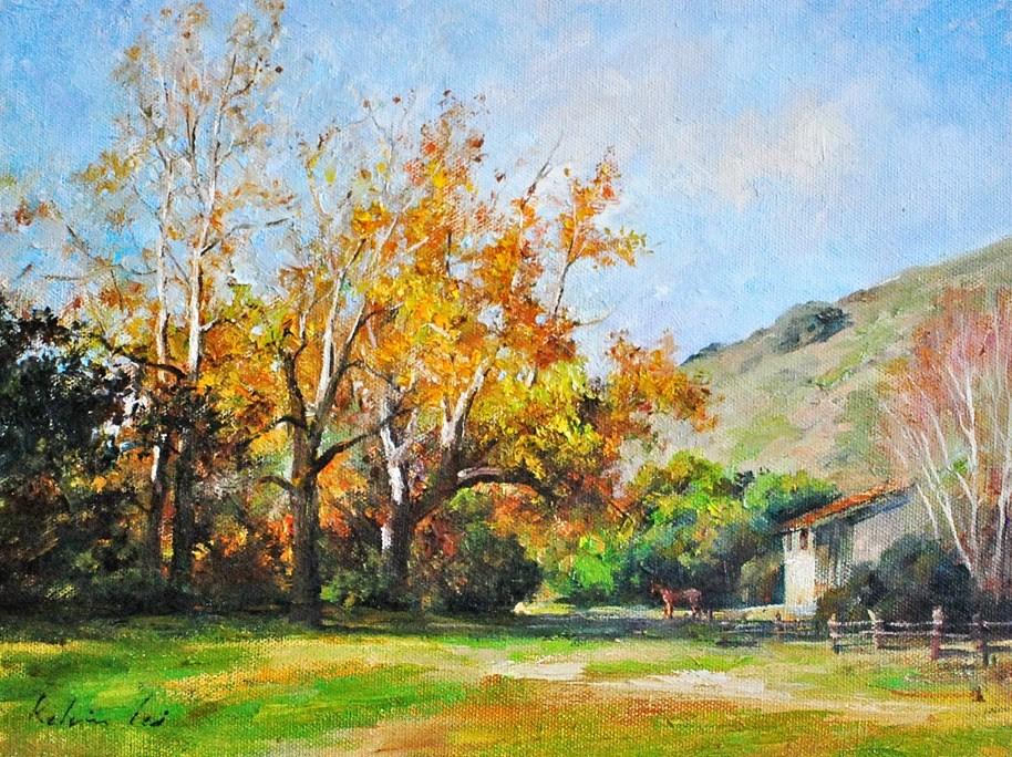 """Autumn in the Valley"" original fine art by Kelvin Lei"