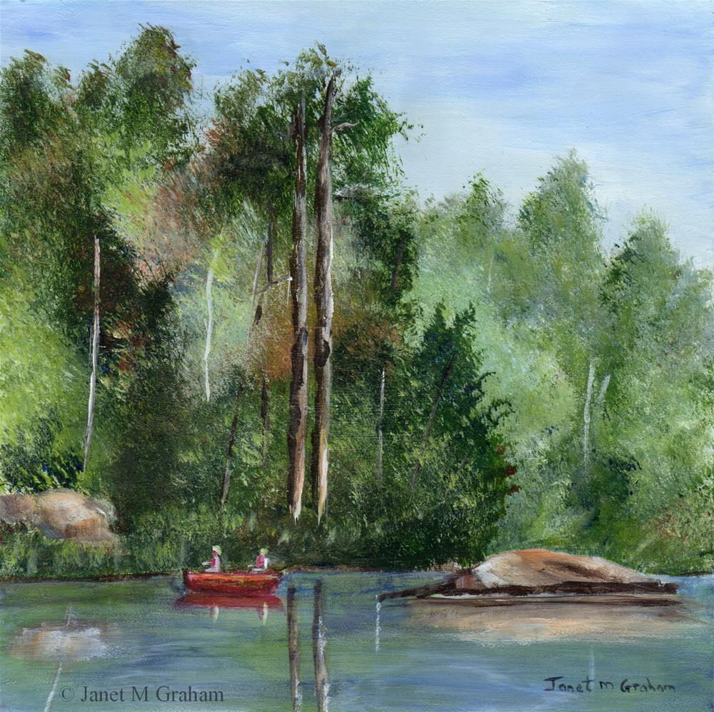 """""""Canoeing down the river"""" original fine art by Janet Graham"""