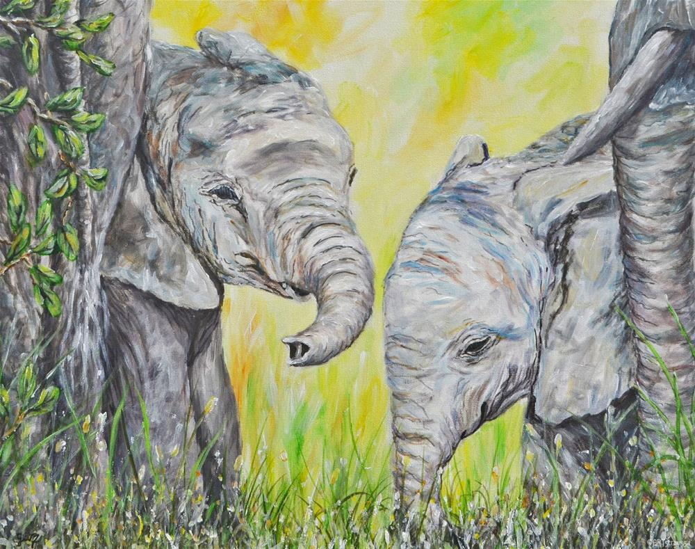 """Elephant Buddies"" original fine art by Gloria Ester"