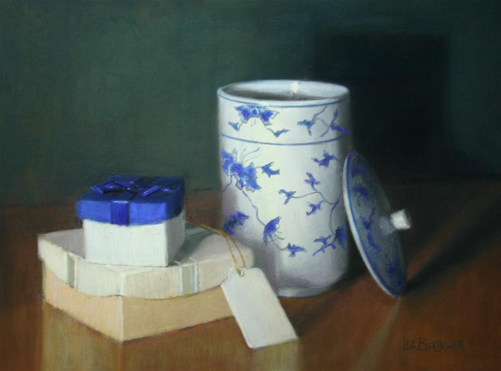 """Parcel with pot"" original fine art by Liz Balkwill"