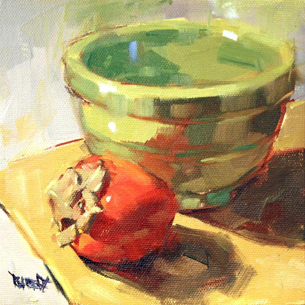 """One Persimmon and Green Bowl"" original fine art by Cathleen Rehfeld"