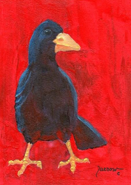 """ORIGINAL RAVEN PAINTING    The NOSE"" original fine art by Sue Furrow"