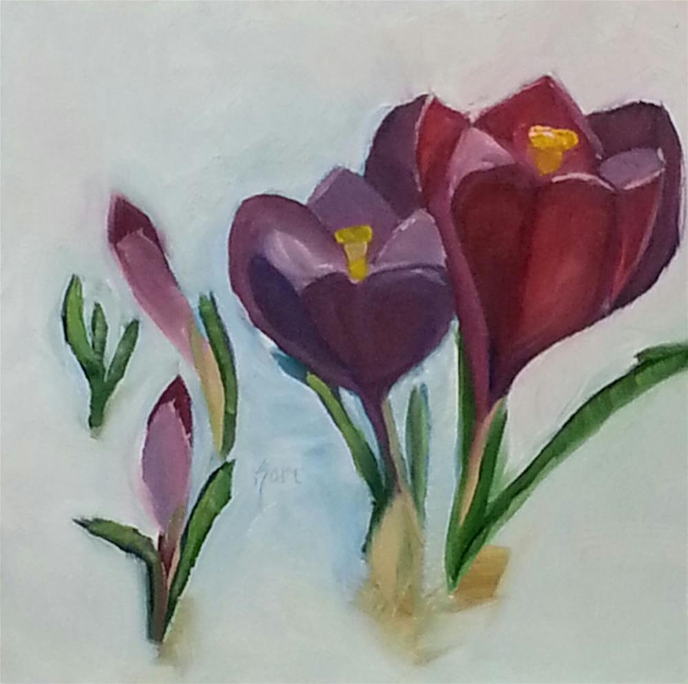 """Crocus in Snow"" original fine art by Kari Melen"