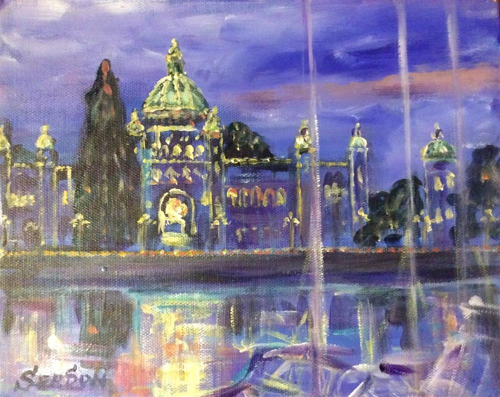 """Victoria Harbour Parliament Buildings"" original fine art by Sonia von Walter"