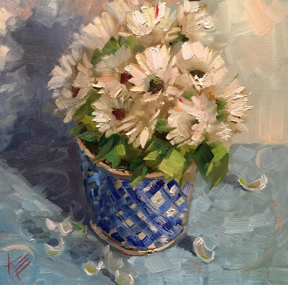 """Daisies on Blue"" original fine art by Krista Eaton"