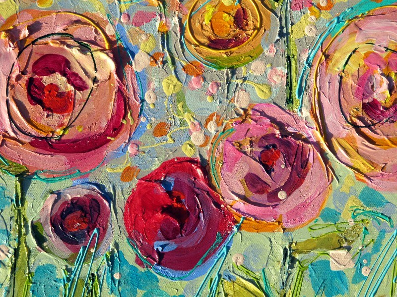 """Closeup Detail of Sweet Summer Roses, 12101 published on 7-17-2012"" original fine art by Nancy Standlee"
