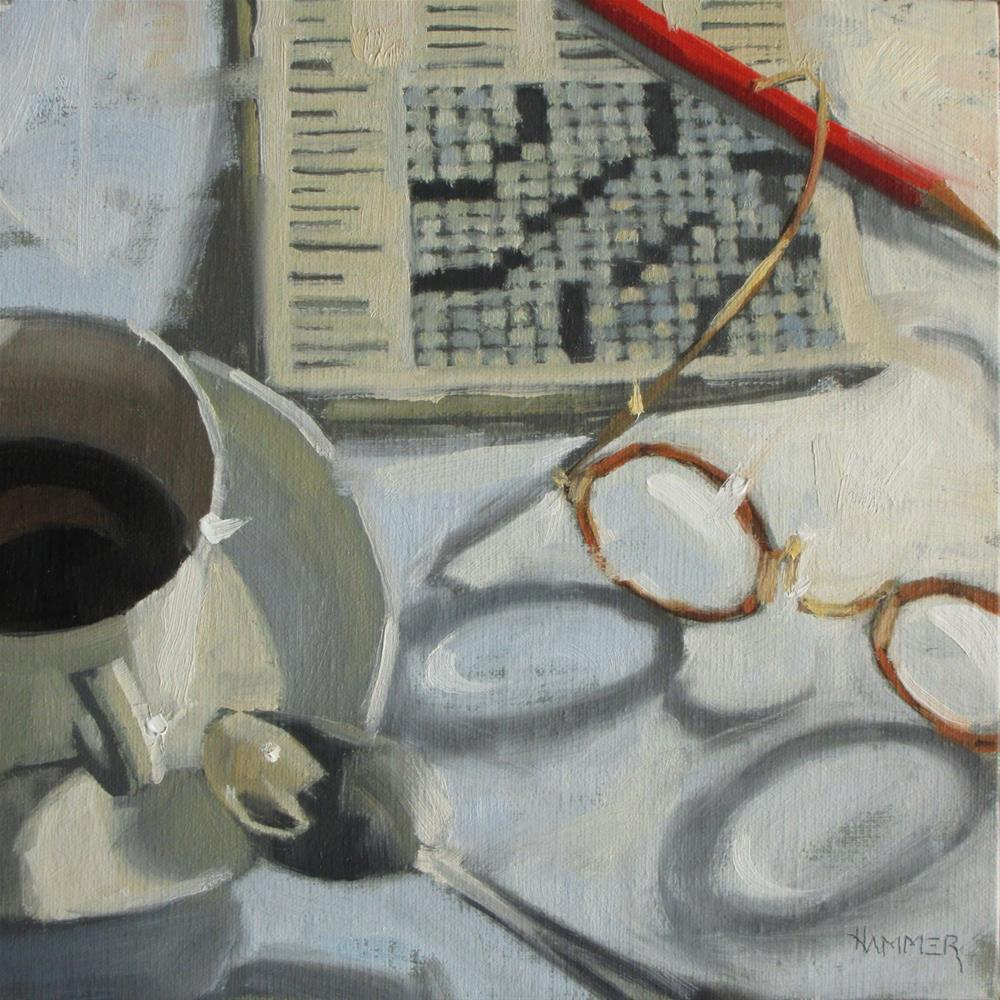 """10 letter word for glasses  8 x 8  oil"" original fine art by Claudia Hammer"