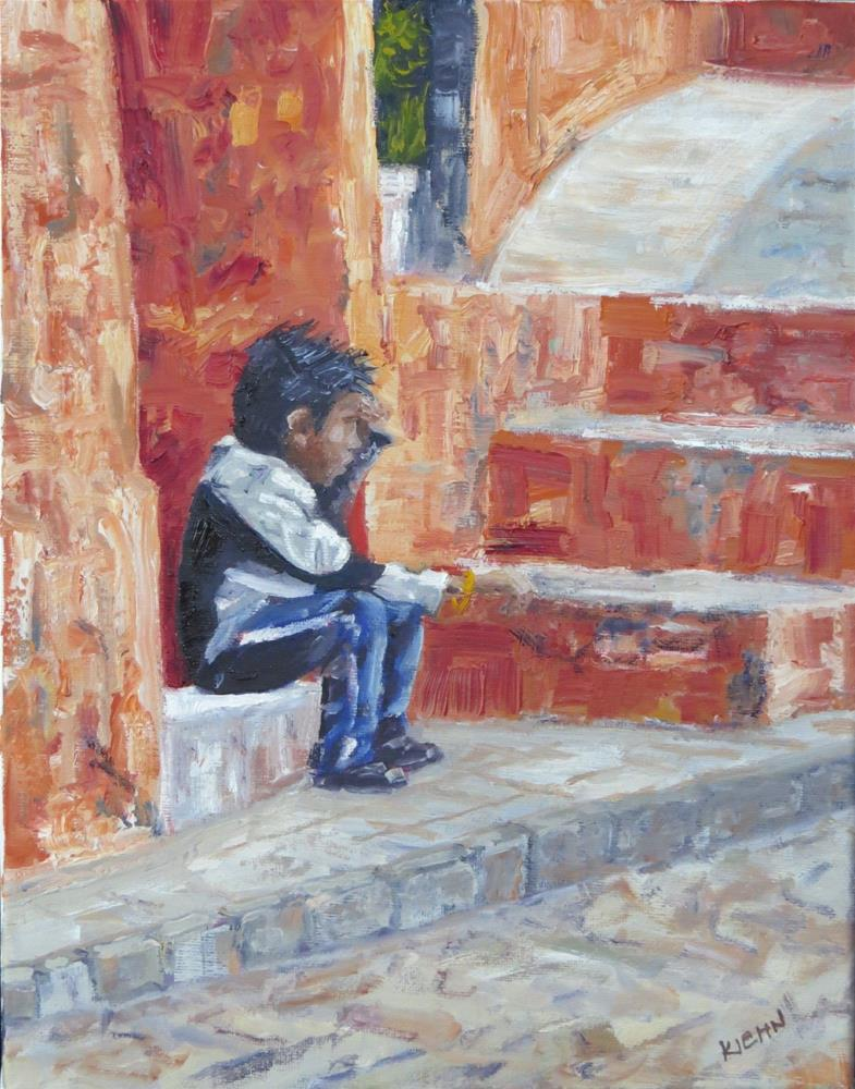 """Waiting, in Old Mexico"" original fine art by Richard Kiehn"