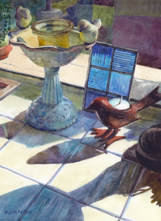 """""""Watercolor: Shadow Parade (& a video on lifting watercolor)"""" original fine art by Belinda Del Pesco"""