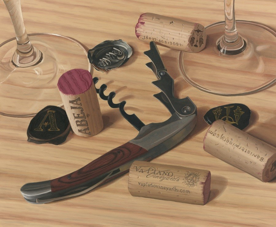 """Four Corks"" original fine art by Susan Fern"