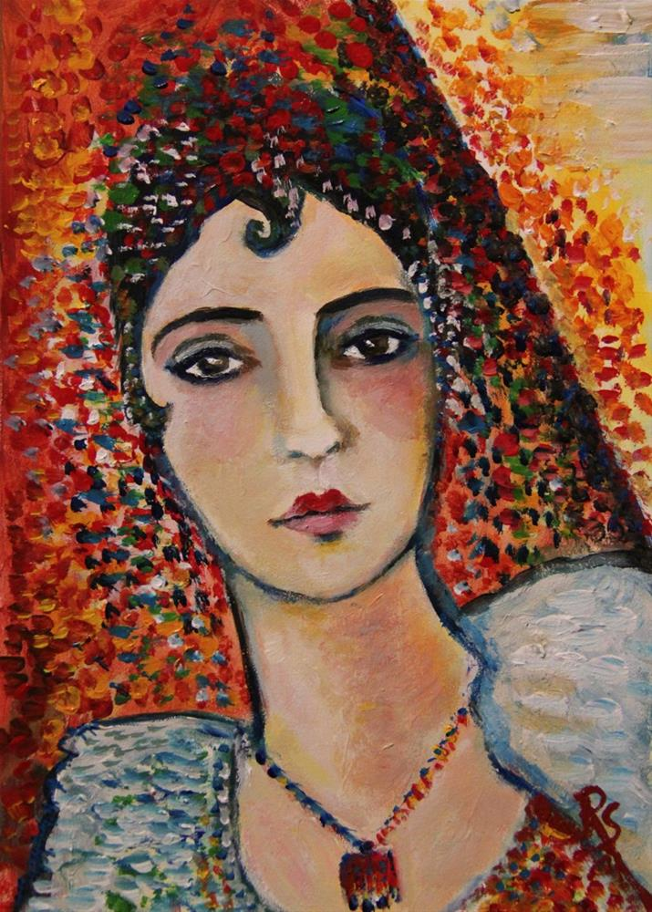 """""""RESERVED -Inspired by Picasso - Woman with Spanish Dress"""" original fine art by Roberta Schmidt"""