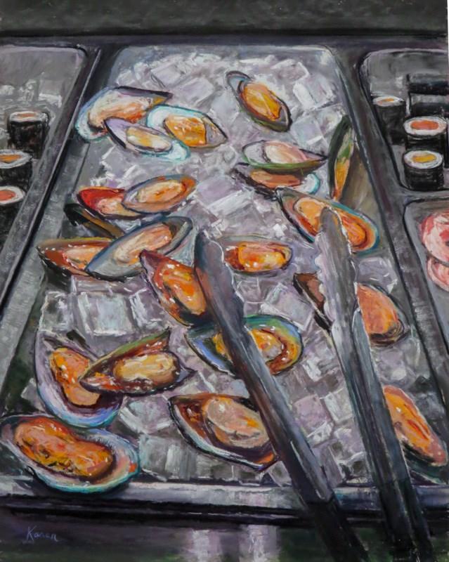 """""""Mussel Beach"""" original fine art by karen israel"""