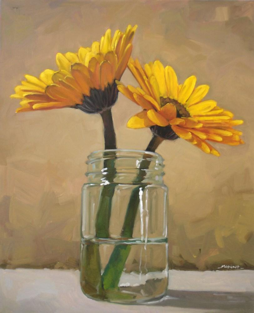 """2 Yellow Flowers"" original fine art by Carol Marine"