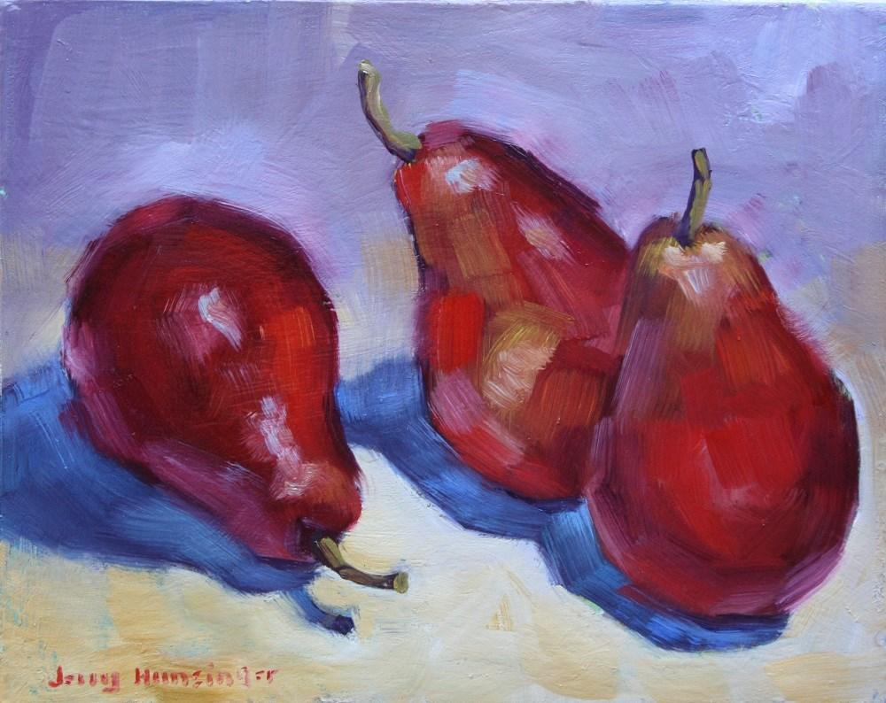 """Red Pears"" original fine art by jerry hunsinger"