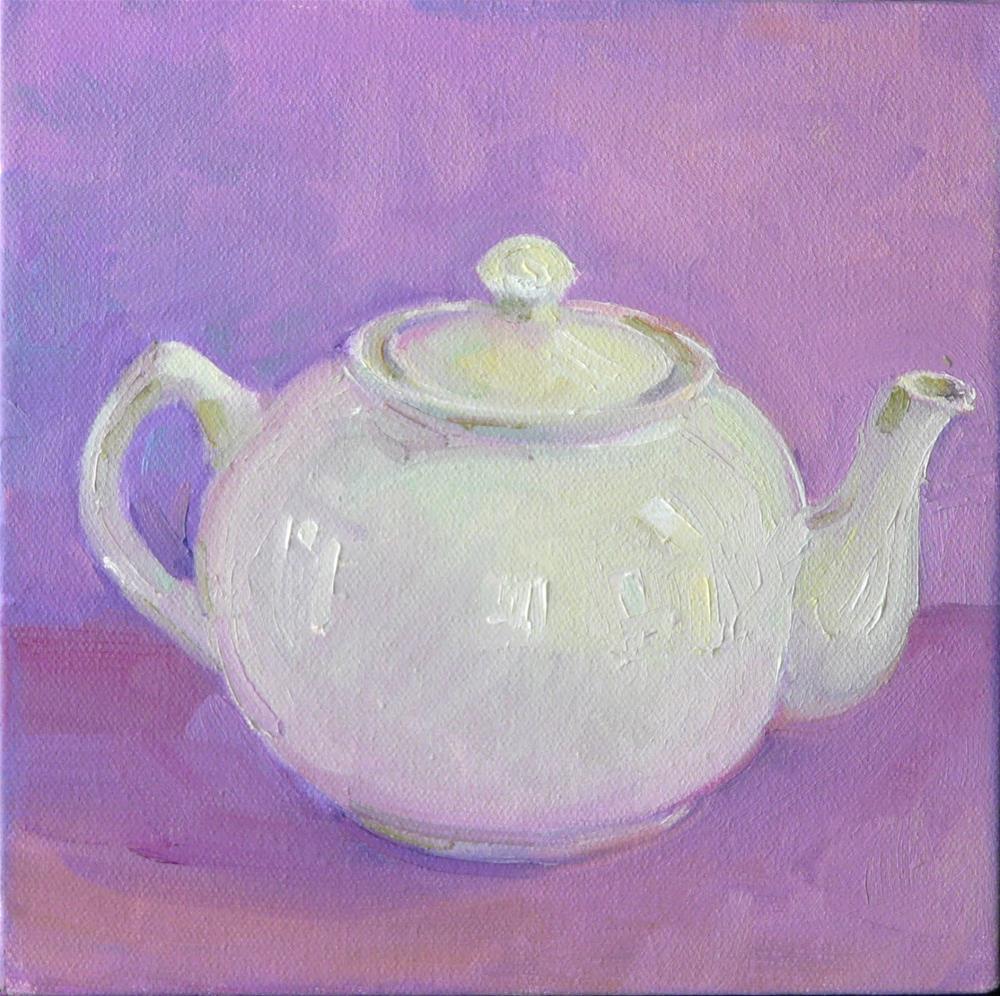 """White Teapot,still life,oil on canvas,8x8,price$200"" original fine art by Joy Olney"