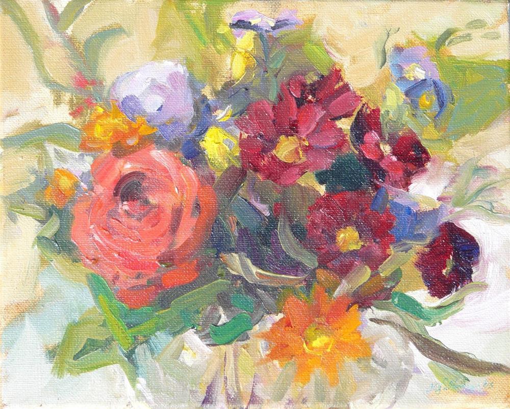 """September Flowers,still life,oil on canvas,8x10,price$300"" original fine art by Joy Olney"