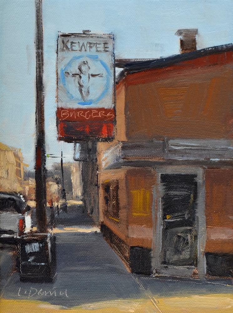 """""""Kewpee's - Racine, Wisconsin - and workshop announcement"""" original fine art by Laurel Daniel"""