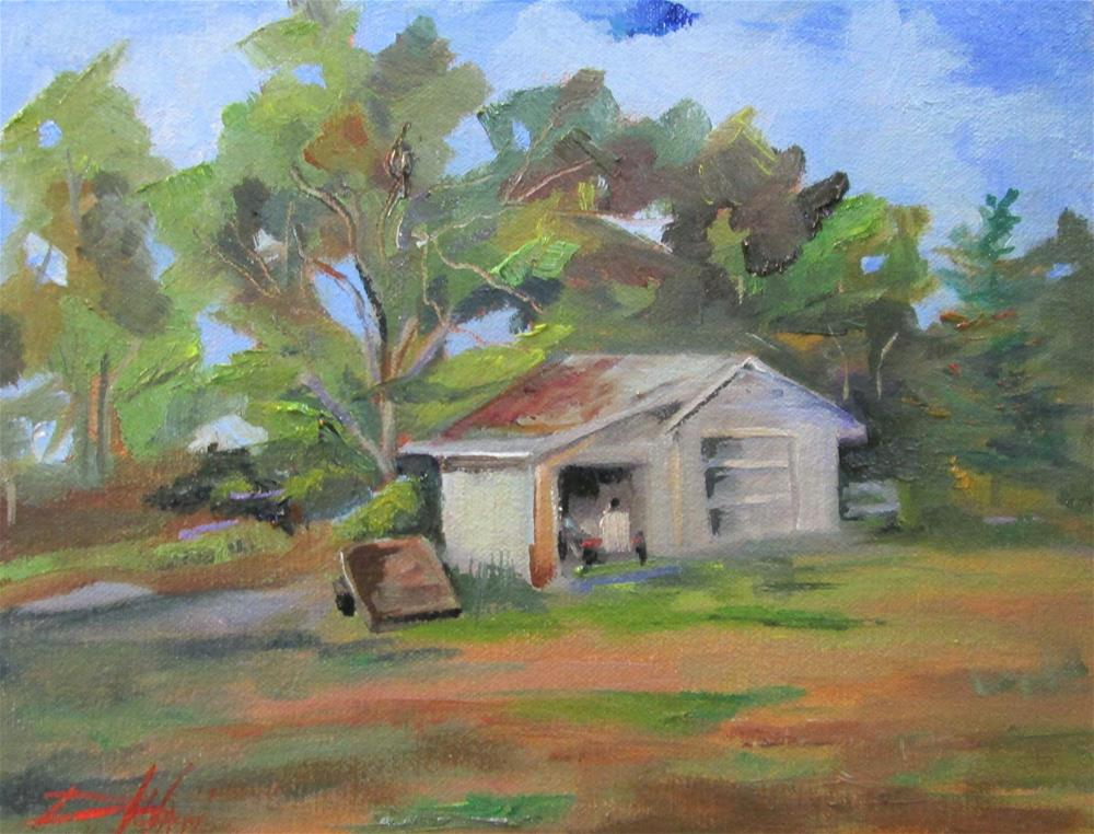 """Shed with Tractor"" original fine art by Delilah Smith"