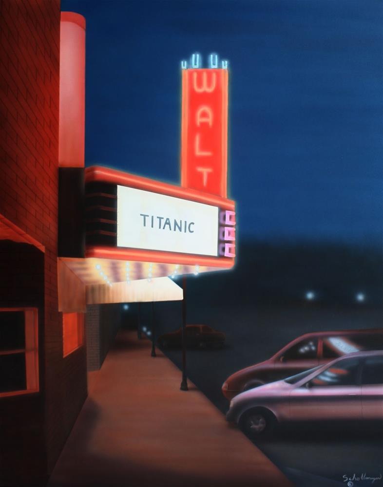 """The Walt at Night"" original fine art by Fred Schollmeyer"