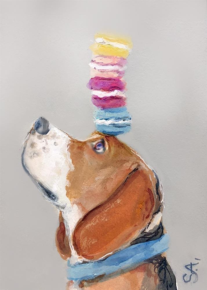 """""""Balancing Beagle"""" original fine art by Sunny Avocado"""