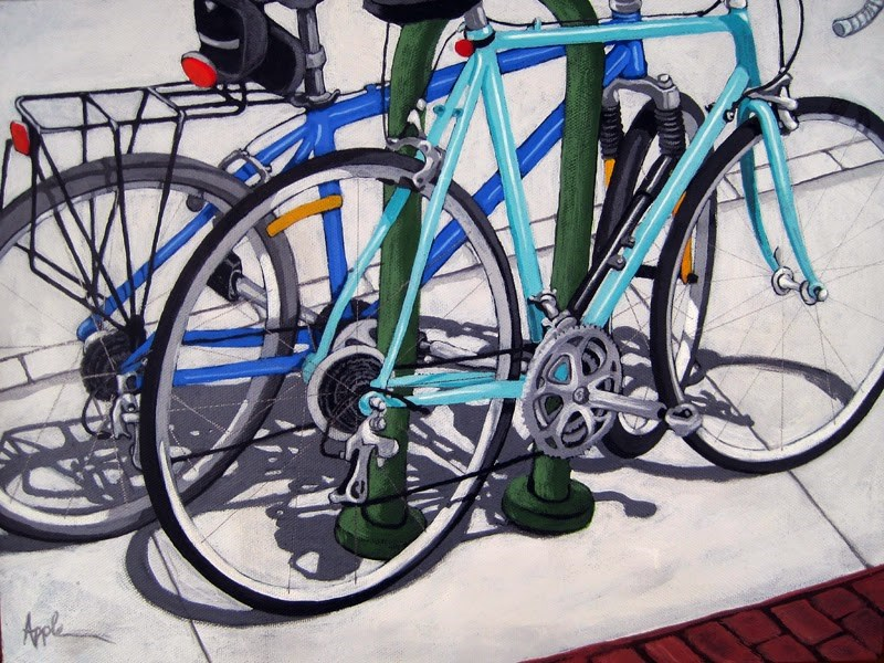 """""""BIKE DAY bicycle painting commission"""" original fine art by Linda Apple"""